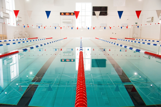 Swimming pool with bunting