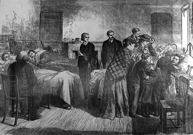 Old newspaper drawing of a hospital ward with family visiting the patients