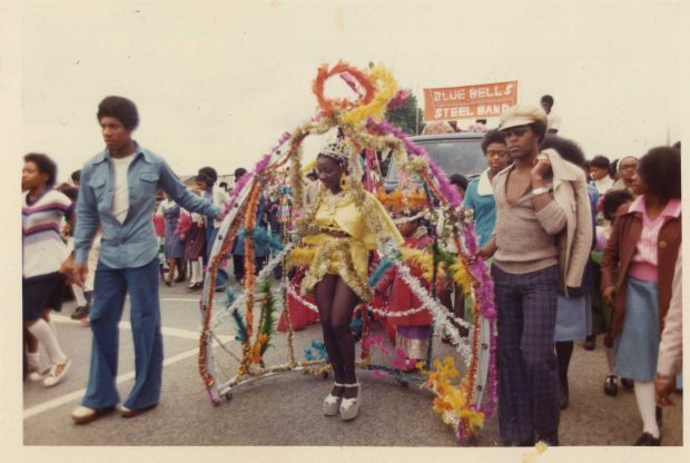 Irma Brandy pictured at the front of the Moss Side Carnival in 1976