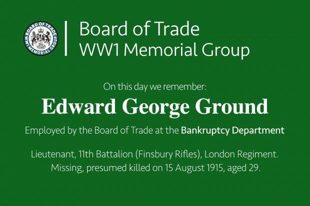 Edward George Ground commemorative card