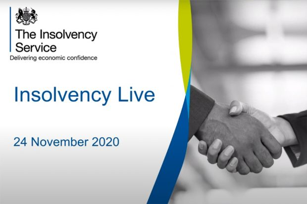 Insolvency Live logo and image showing two people shaking hands