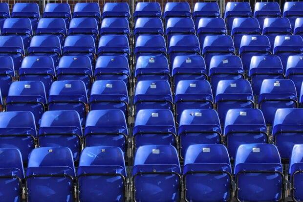 Blue seating inside a stadium